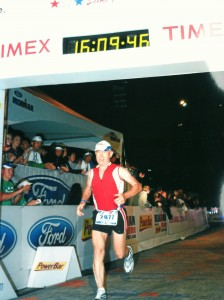 The author completes Lake Placid Ironman 2011 with the aid of his Cook Zenith stent graft.