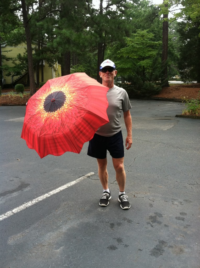 Ironman's new umbrella. I bought because during my studies of Botany I admired the Compositae. Deb hates me using it, and I love it. It works so well.