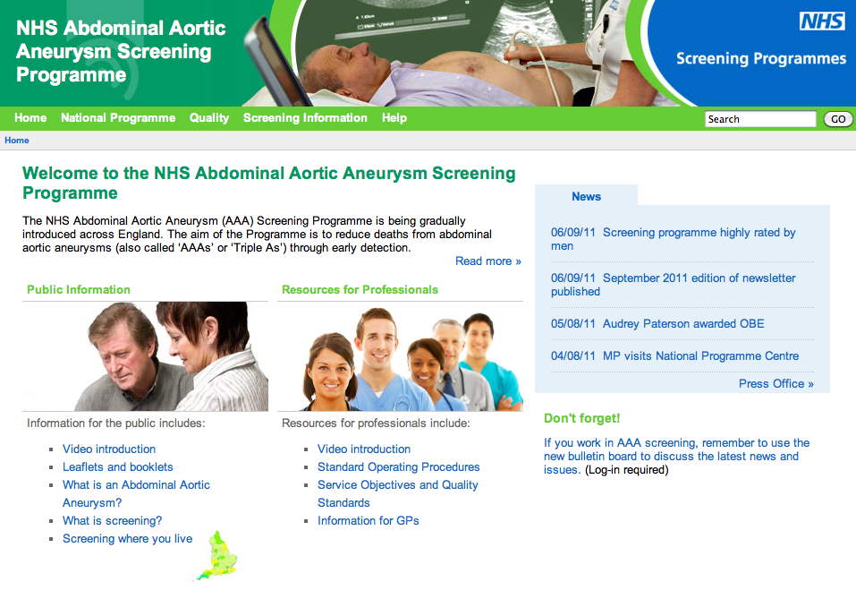 UK National Health Service AAA Screening Program. From: http://aaa.screening.nhs.uk/