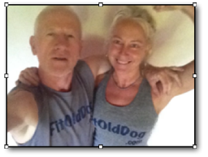 Rebecca and FitOldDog in FitOldDog Tees