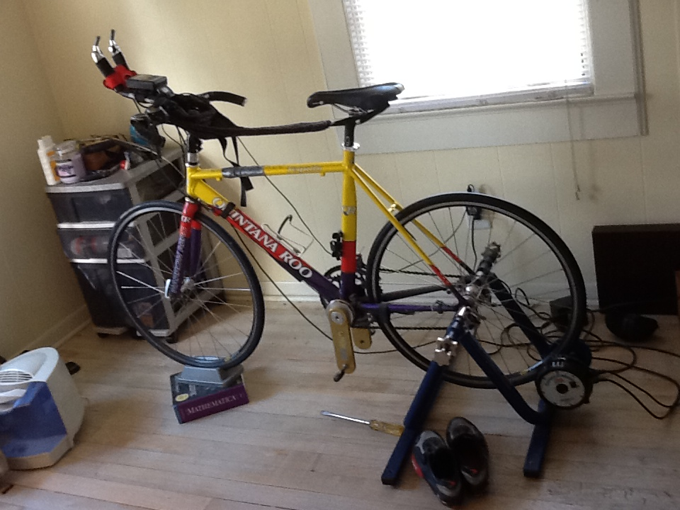 FitOldDog's Trainer bike with CompuTrainer and PowerCranks