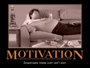 Sometimes one just isn't motivated, to workout, but you are motivated to have another beer. The only way to change that is to put down the beer and start exercising. From: http://goo.gl/IGVmM