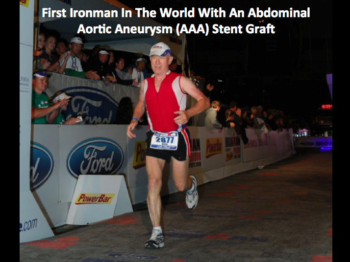 FitOldDog finishing the Lake Placid Ironman 2011, first in the world with an AAA stent graft.