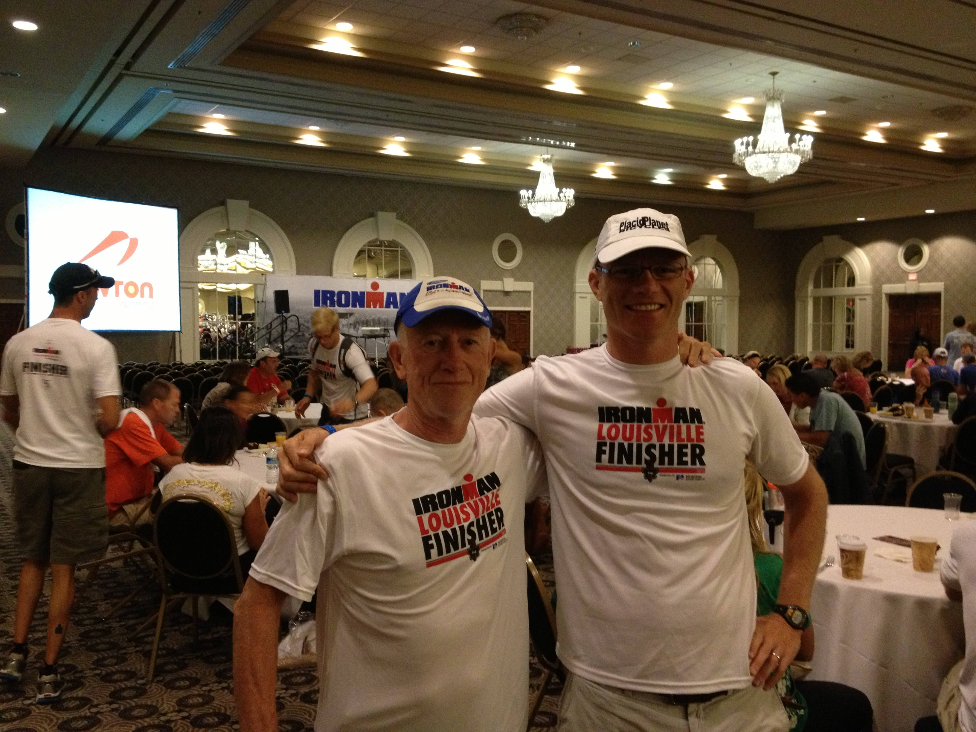 FitOldDog with his son after the 2013 Louisville Ironman