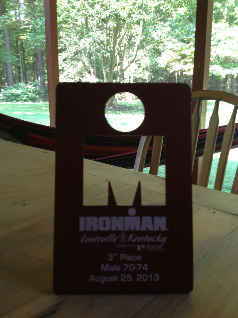 I was third in my age group at the 2013 Louisville Ironman, and I was quite happy with that. This race was about pinning down the run. I missed a Kona slot by one person, but my son Nigel had a well-earned slot and we be watching him in Kona.