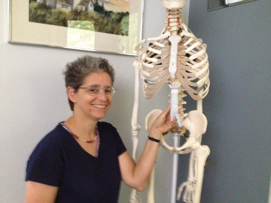 Karen, FitOldDog's Feldenkrais instructor, places a Cook Zenith Stent Graft adjacent to the location occupied by it's fellow stent, Rupert, in the abdomen of FitOldDog.