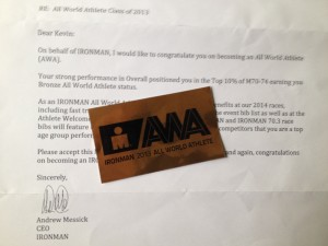 Letter where FitOldDog becomes Ironman All World Athlete Bronze.