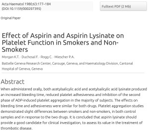 FitOldDog's article on aspirin lysinate
