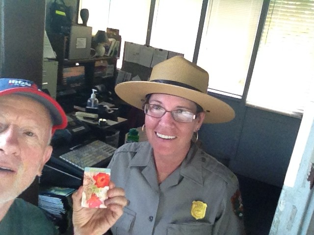 FitOldDog with Lori of the National Parks service, with FitOldDog's senior pass.