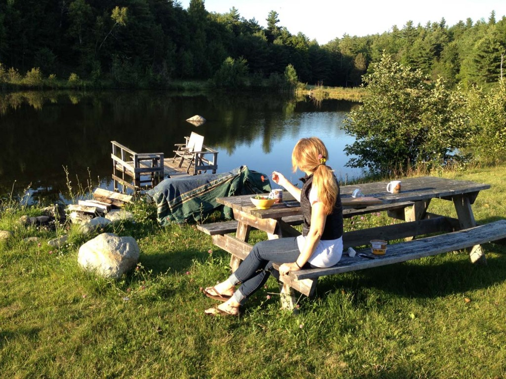 Deb at a great campsite on our way home from the 2014 Mont-Tremblant Ironman