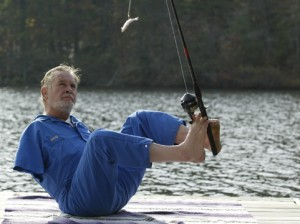 Marty without arms fishing