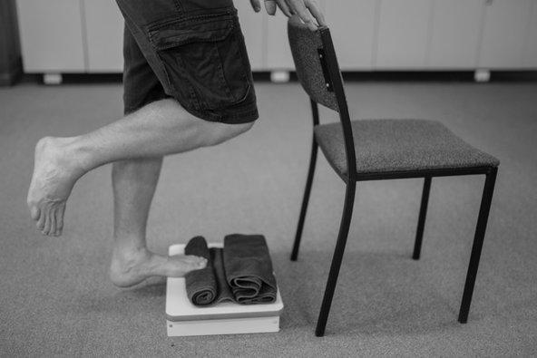 Plantar fasciitis exercise to relieve heel pain.