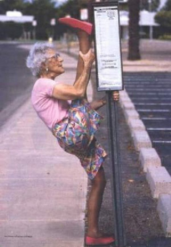 Very limber old woman